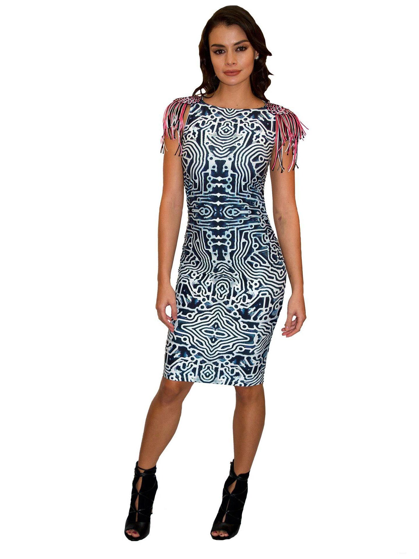 ACID NYC - LUNA DRESS WITH FRINGE - POLY/SPANDEX - TECHNO ...